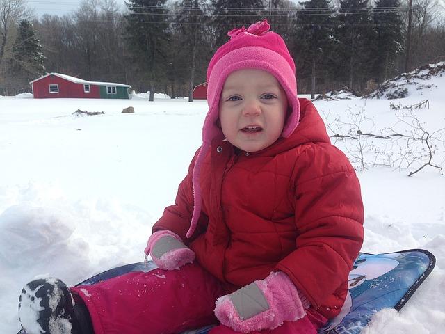 snowy toboggan ride